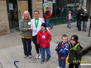 After the race, with my rescue partner, Beth, and my mini support crew.