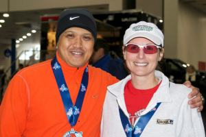 Coach Alain and me after the Houston Marathon.