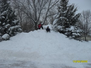 A ginormous pile of snow after they plowed my street. Yes, it really was that tall!