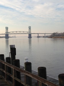 Looking over the Cape Fear River Bridge.