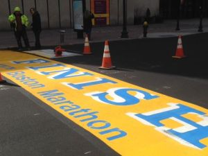 The Newly Painted Boston Marathon Finish Line