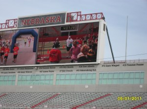 I've never been on a jumbo-tron before! That's me, arms up, on the right. Very thankful at that moment.