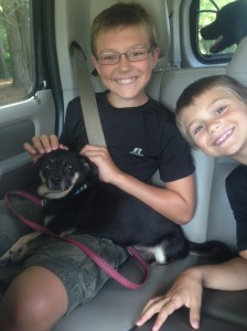 My kids with Foster Chase and our dog Scarlett in the back.