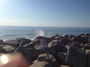 It was super calm but the waves were huge, and crashed in on the rocks. It's like a movie or something.