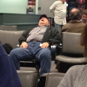 By 8 pm, we looked like this poor guy in the airport.