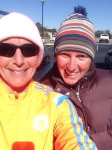 Me and Amanda - evidently my face froze into a strange look during my last mile.