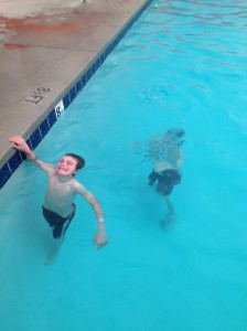 Playing around in the pool.