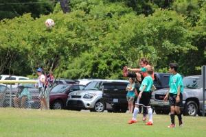 My little man defending his goal.