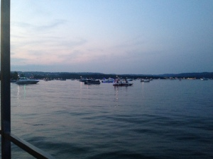 Boats piling up to watch the firework show.