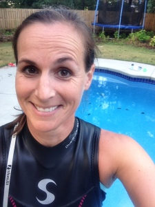 A pool-wetsuit swim. Yay.