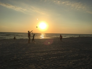 Playing on the beach at sunset. Perfection.